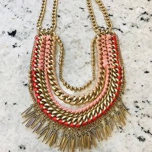 Stella & Dot Gold and Coral Statement Necklace